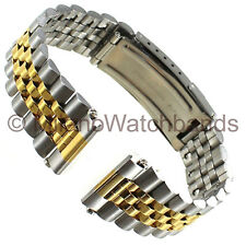 20/18mm Graham Center Clasp Two Tone Curved/Straight Ends Stainless Watch Band