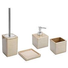 Set 4 accessori bagno da appoggio in ceramica beige e acciaio inox serie Cuba