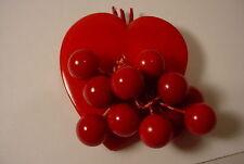 Vintage Bakelite Heart Dangles Berries Cherries Brooch Pin