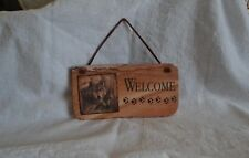 Stone Welcome Sign/Plaque with Wolf by Thirstystone with Leather Hanging String