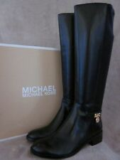 MICHAEL KORS Hamilton Stretch Black Leather Knee High Boots Shoes US 9.5 M NWB