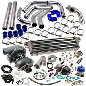 T3 T4 T04E Universal Turbo Kit Stage III+Wastegate+Turbo Intercooler+piping 10PC