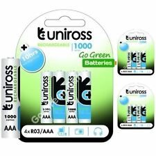 12 x Uniross AAA Rechargeable Batteries 1000 mAh NiMH