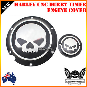 Black CNC skull Derby Timer engine Cover Harley XL Sportster 883 1200 Iron 48 72