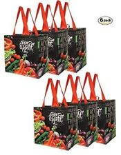 Earthwise Reusable Grocery Shopping Totes w/Chalkboard Veggies Design (6 pcs)