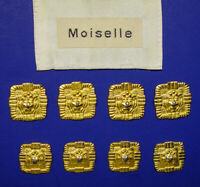 SET OF 8 MOISELLE SQUARE GOLD TONE LION HEAD METAL BLAZER REPLACEMENT BUTTONS