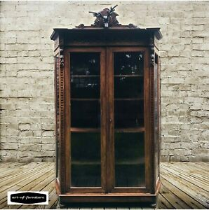 Antique French Carved Ornate Vitrine Display Cabinet with shelves Handmade