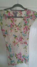 Warehouse 100% Silk Floral Boho Shabby Chic Blouse - Size UK 6