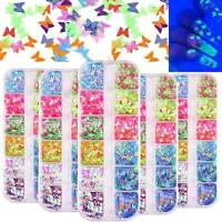 Butterfly Nail Art Glitter Nail Sequins Luminous Star Spangle Flakes Sticker Tip