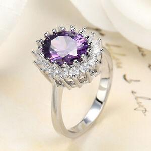 Handmade Mystical Purple Amethyst Gemstone Solid Silver Flower Ring Size 6-10