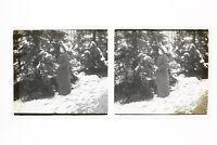 Francia Donna Paesaggio Da Neige Foto n46L6- Placca Lente Stereo Vintage
