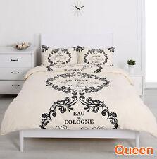Queen Size Bedding Lovely Paris Quilt Cover Set-Script Paris Cream