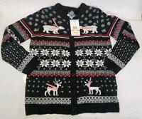New Erika Women's Polar Bear Button Up Christmas Knit Sweater Small Black Deer