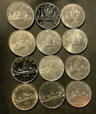 Old Canada Coin Lot - DOLLAR - 12 AU/UNC COINS - Lot #N28