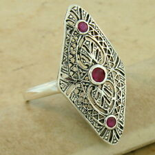 CLASSIC ART DECO 925 SOLID SILVER GENUINE RUBY ANTIQUE STYLE RING SIZE 8,  #1104