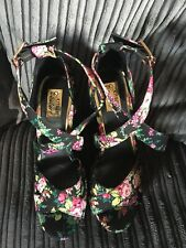 Kitsch Couture Black/Multi Floral Strappy Platform Wedges Size 5