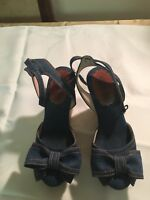 Blue denim Wedges With Bow By Valentino, Size 38