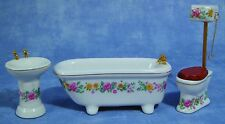 More details for floral bathroom set for dolls houses 12th scale df319