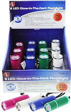 "1pc 8 White LED Glow In The Dark Flashlight 3 1/2"" Aluminum Body #FL302-14"