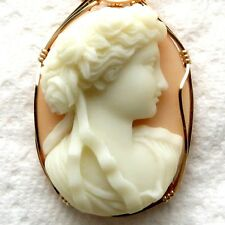 Goddess Diana Cameo Pendant 14K Rolled Gold Jewelry Orange Resin