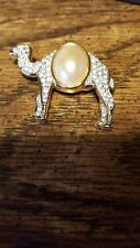 Bold Elegance Goldtone Camel Brooch / Pin with Mabe Pearl & Pave Rhinestones (M)