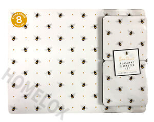 Bee Print Placemat And Coaster Set Of 8 Table Mats Dining Coasters Tableware