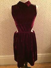 NANA Wine Red Velvet Stile Vestito con colletto in pizzo sul retro, tagliato in vita Taglia 10
