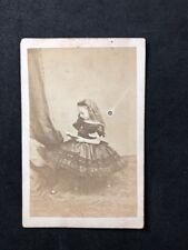 Rare Victorian Carte De Visite CDV: Princess Beatrice As Young Girl Reading