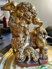 Antique Qing foo dog lion gilt Chinese Gold Carving Wood figure chaozhou style
