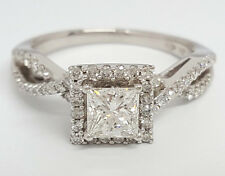 0.77 ct 14K White Gold Princess Cut Diamond Engagement Ring GIA G / VS2