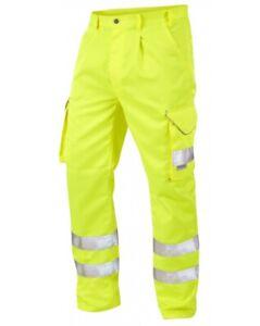 40 44 Hi Vis Trousers Leo Bideford Poly/Cotton Heavy Duty Workwear hi viz CT01