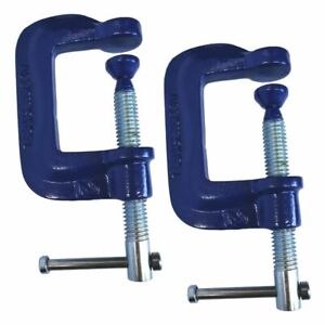 """2Pc G Clamp Set 50mm (2"""") Small Heavy Duty Screw C Clamps for Wood & Metal Work"""