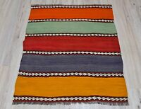 Turkish Handmade Embroidered Orange Green Red Blue Yellow Striped Kilim Rug 3x4'