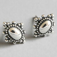 Vintage Solid 925 Sterling Silver Ethnic Flower Stud Earrings for Women Jewelry