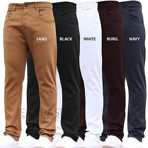 New Mens AD Stretch Slim Fit Chinos Pants Smart Work Trousers All Waist Legs