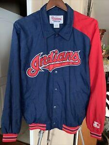 Vtg Starter Diamond Collection Cleveland Indians Snap Up Jacket Men's Size Large
