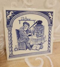 """Delft Holland Pill Tile for Burroughs Welcome Co. 17th Century """"The Pharmacist"""""""