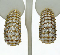 Diamond J hoop earrings 18K yellow gold E-F VS round brilliant dramatic 10.00CT!