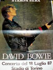 DAVID BOWIE  MANIFESTO POSTER CONCERTO A TORINO 18/7/1987 GLASS SPIDER TOUR