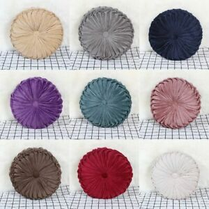 Velvet Pleated Round Pumpkin Pillow Couch Cushion Pillow Home Sofa Bed Decor