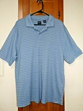 Arrow Blue Striped Pullover Short Sleeve Polo/Golf Cotton Blend Shirt - Size L