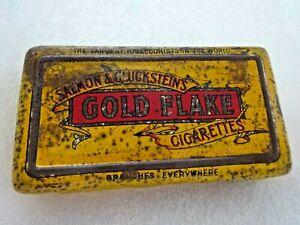 VINTAGE COLLECTABLE SALMON & GLUCKSTEIN GOLD FLAKE CIGARETTE/TOBACCO TIN