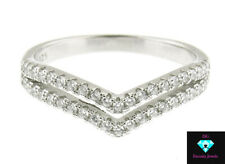 FSTERLING SILVER .925 CZ MICRO PAVE SET DOUBLE V SHAPE PROMISE RING SIZE 6-9
