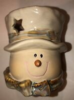 Snowman Candle Holder Votive Tea Light Porcelain