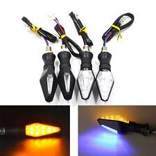 10mm Motorcycle Turn Signal 12 LED Turning Light Indicator Amber and Blue 2 pair