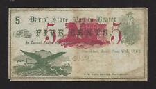"Otter River, Massachusetts, 1862, 5 Cent Obsolete Note, ""Davis' Store�, Unlisted"