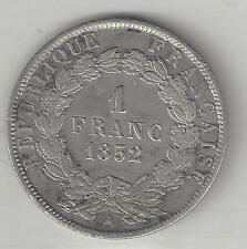 FRANCE,  1852-A,  1 FRANC,  SILVER,  KM#772,  VERY FINE-EXTRA FINE ( See Note )