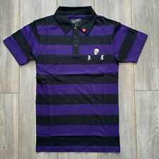 IRON FIST BLACK & PURPLE STRIPED SKULL POCKET POLO SHIRT (S)