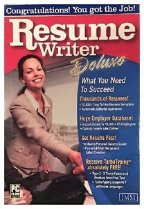 Resume Writer Deluxe Pc New Boxed XP 1000's Of Resumes Hugh Employer Database