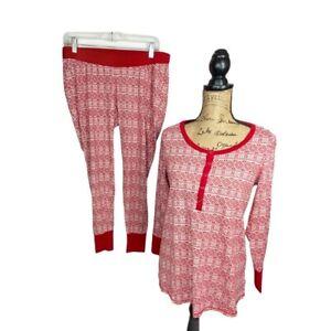 Bump in the Night Maternity Pajamas 2 piece set long sleeve red fair isle